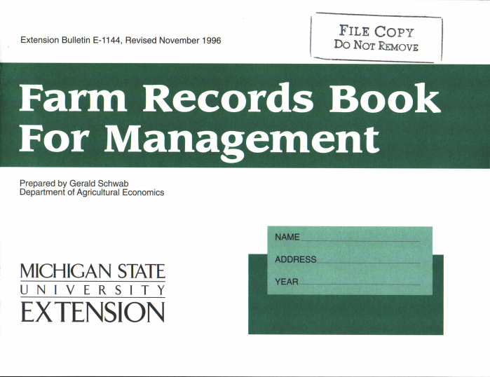 Farm Records Book for Management (E1144)