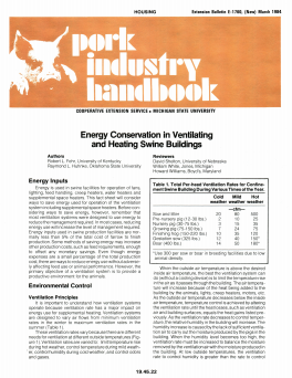 Energy Conservation in Ventilating and Heating Swine Buildings (E1760)