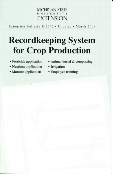 Recordkeeping System for Crop Production (E2342)