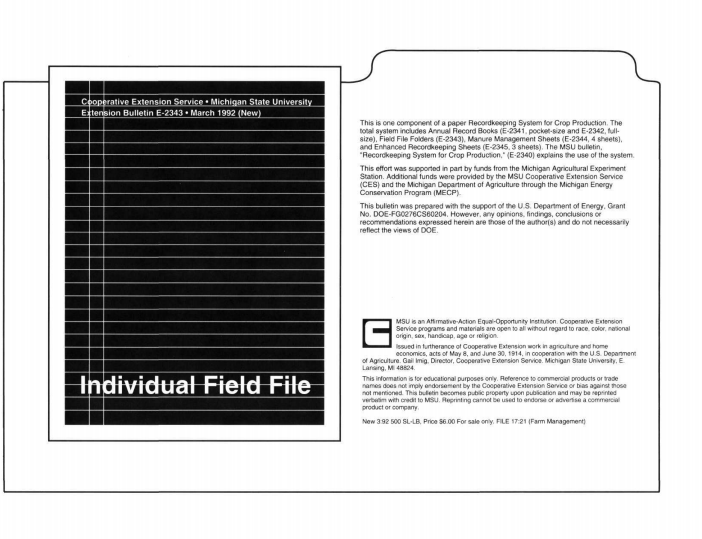 Field File Folders: Recordkeeping System for Crop Production (E2343)