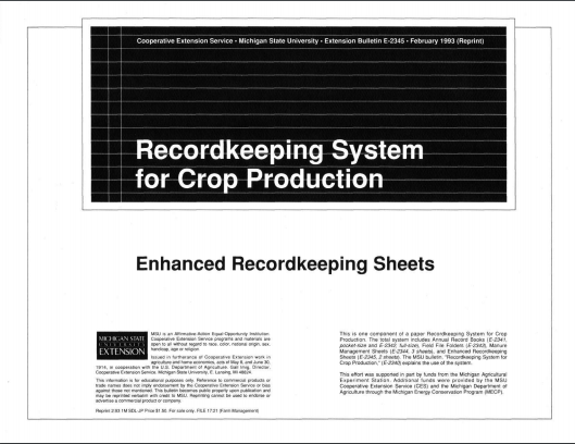Enhanced Recordkeeping Sheets for Crop Production (E2345)