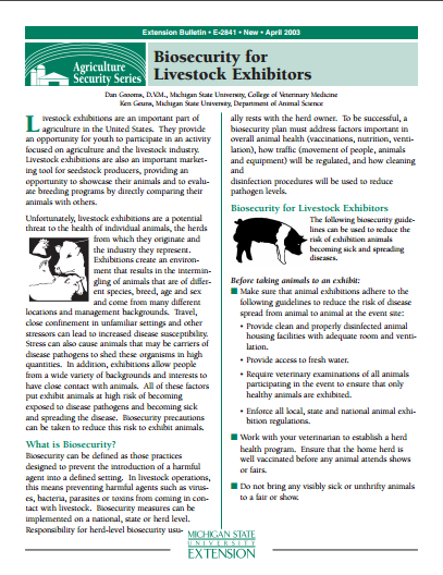 Biosecurity for Livestock Exhibitors (E2841)