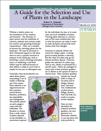 A Guide for the Selection and Use of Plants in the Landscape (E2941)
