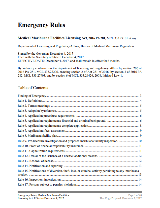 Emergency Rules of the Michigan Medical Marihuana Facilities Licensing Act