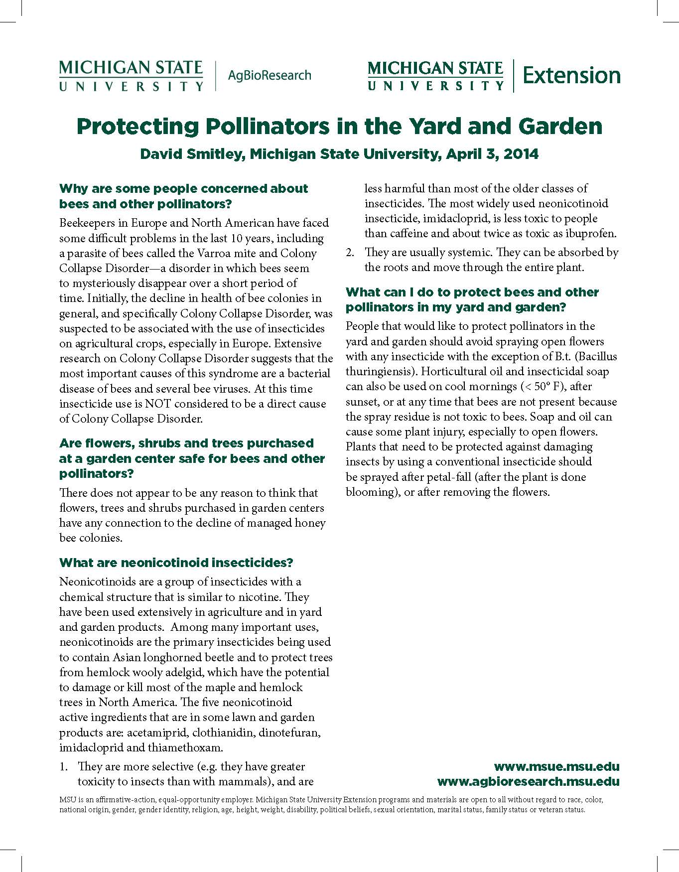 Protecting Pollinators in the Yard and Garden