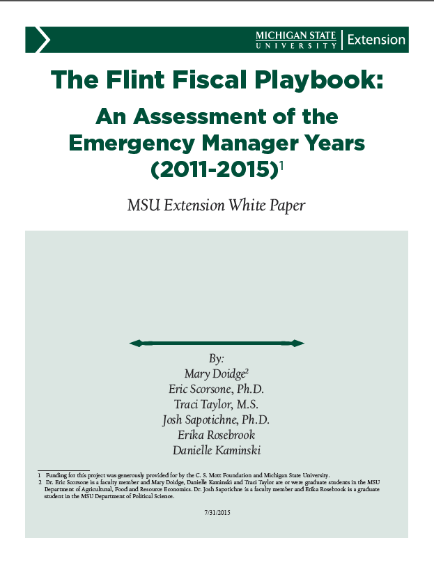 Flint Fiscal Playbook: An Assessment of the Emergency Manager Years (2011-2015)