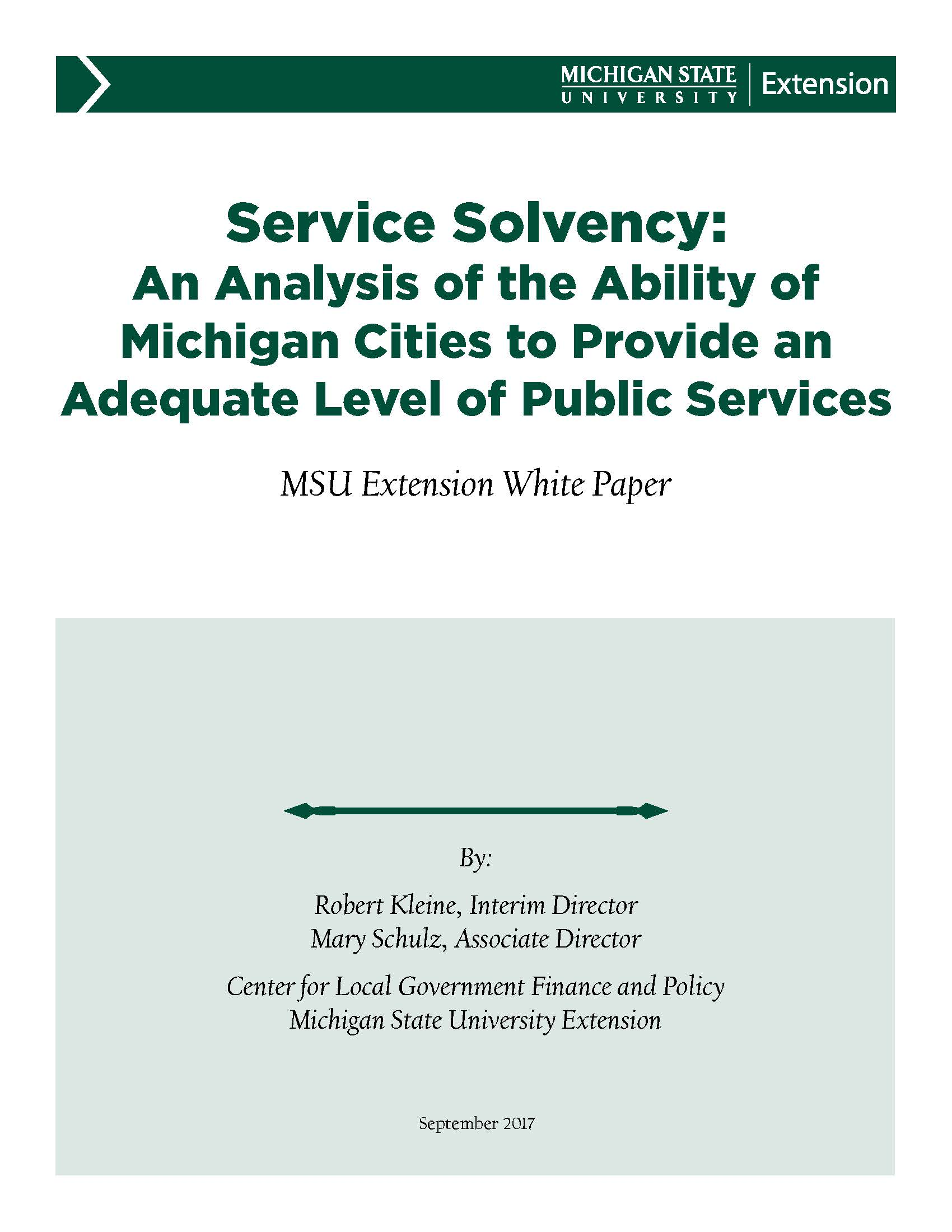 Service Solvency: Ability of Michigan Cities to Provide an Adequate Level of Public Services