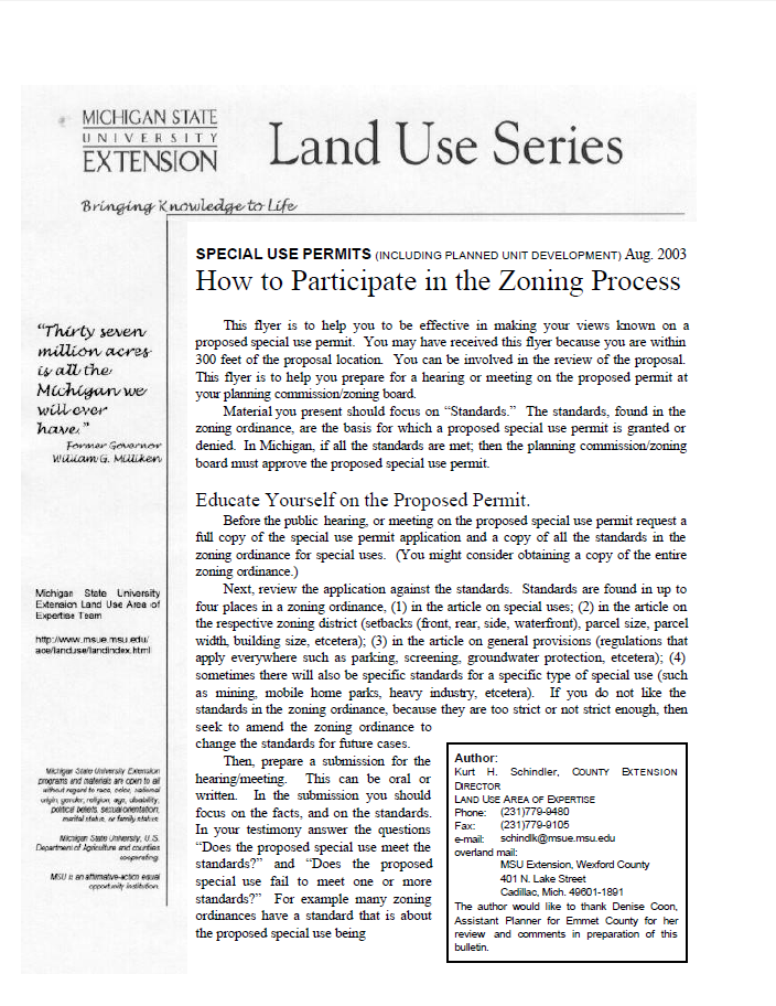 How to Participate in the Zoning Process for Special Use Permits (including administrative PUD)