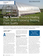 High Tunnels: Reduce Heating Costs While Improving Bedding Plant Quality