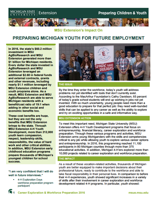 Children and Youth Impacts: Preparing Michigan Youth for Future Employment
