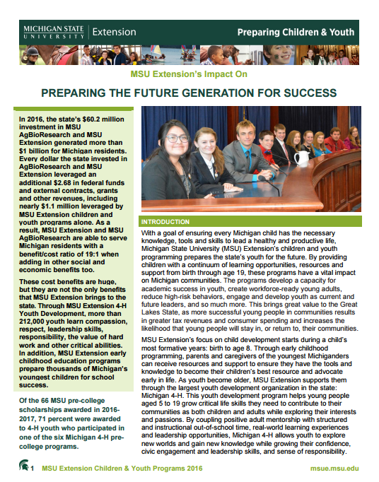 Children and Youth Impacts: Preparing the Future Generation for Success