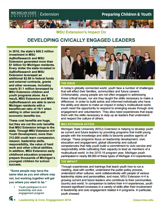 Children and Youth Impacts: Developing Civically Engaged Leaders