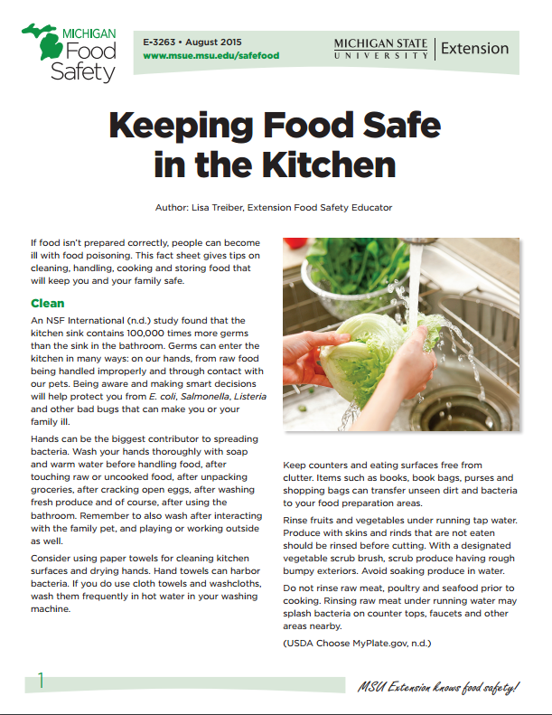 Keeping Food Safe in the Kitchen (E3263)