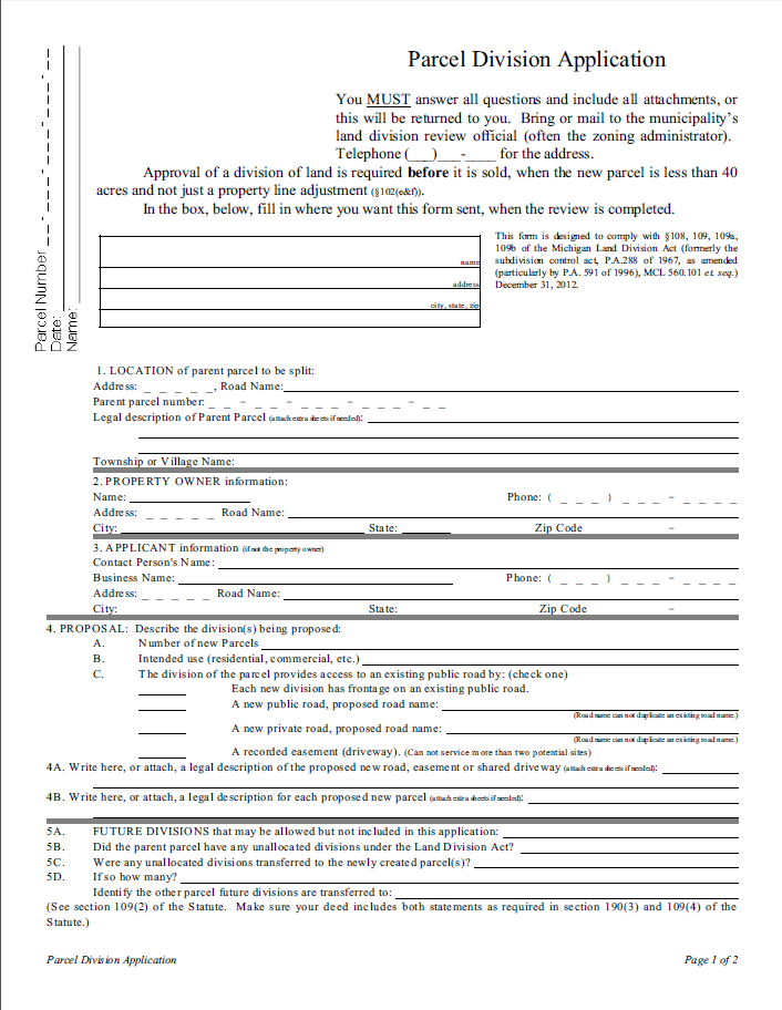 Land Division Application Form