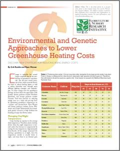 Environmental & genetic approaches to lower greenhouse heating costs