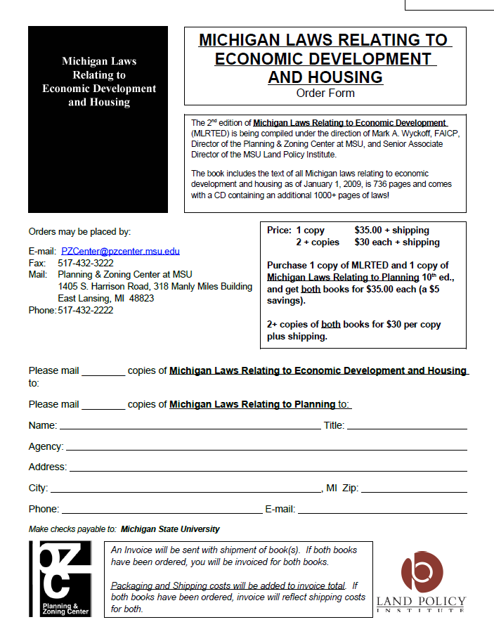 Michigan Laws Relating to Economic Development and Housing 2nd edition order form