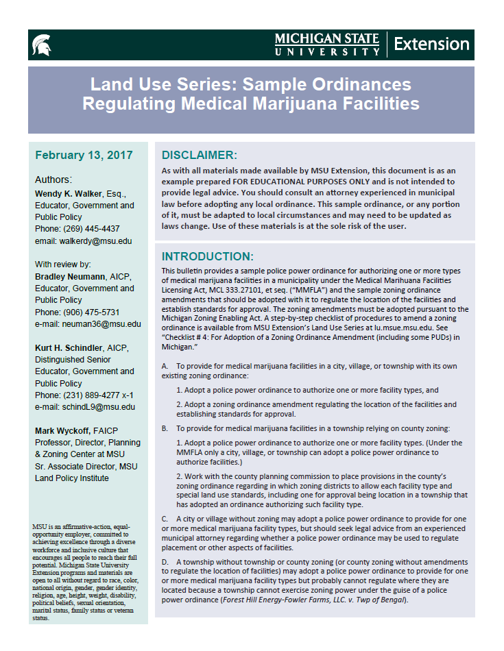 Sample Ordinances Regulating Medical Marijuana Facilities