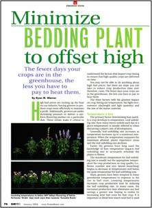 Minimize bedding plant production time to offset high fuel costs