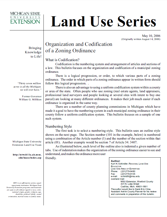 Organization and Codification  of a Zoning Ordinance
