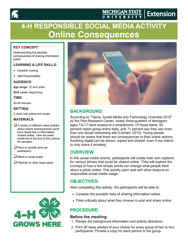 4-H Responsible Social Media Activity: Online Consequences