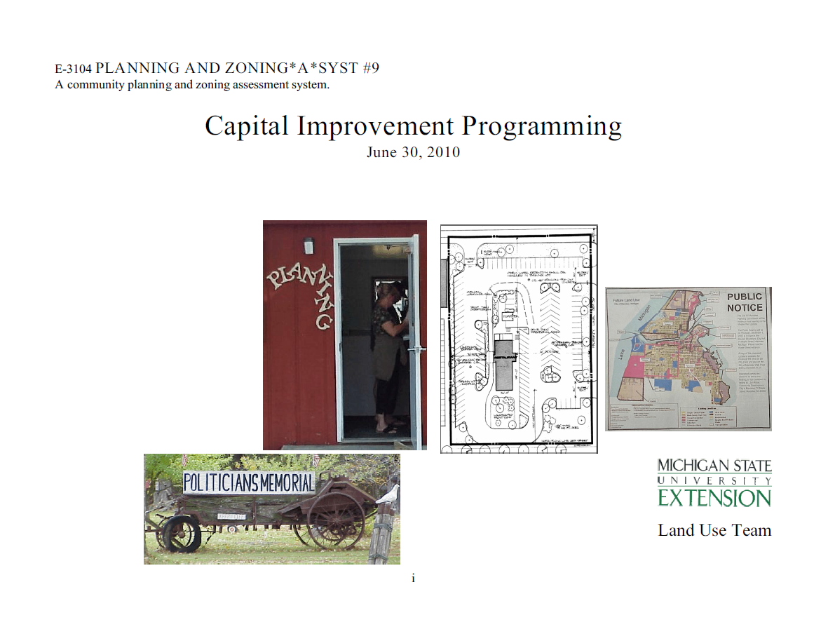 Planning and Zoning*A*Syst. #9: Capital Improvement Programming (E3104)