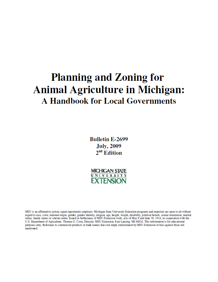 Planning and Zoning for Animal Agriculture in Michigan: A Handbook for Local Governments