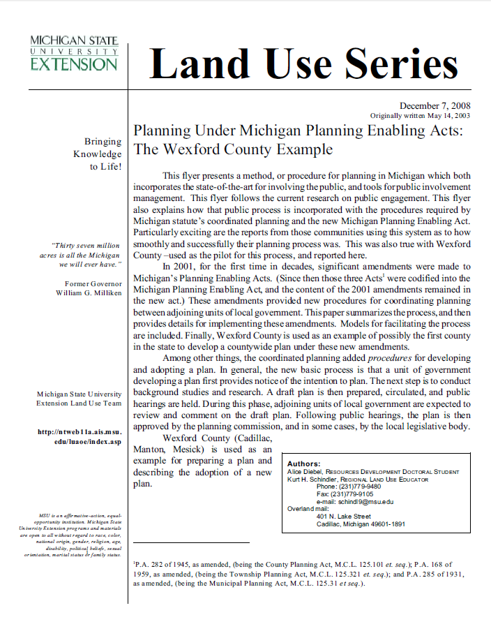 Planning Under Michigan Planning Enabling Acts: The Wexford County Example