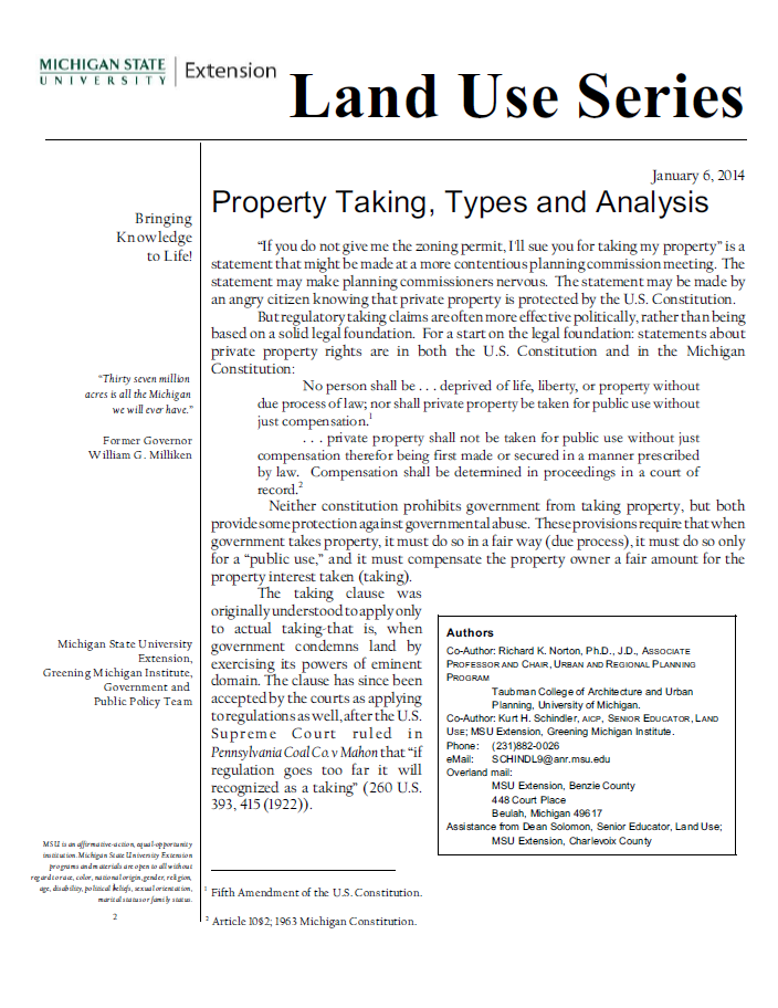 Property Taking, Types and Analysis