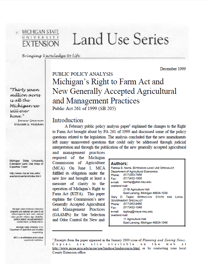 Public Policy Analysis;  Michigan's Right to Farm Act  and New Generally Accepted  Agricultural and