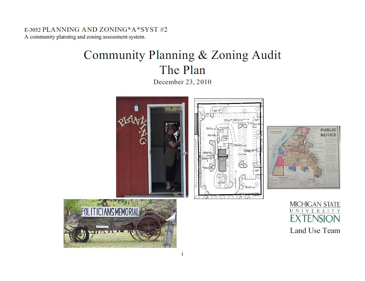 Planning and Zoning*A*Syst. #2: Community Planning & Zoning Audit, The Plan
