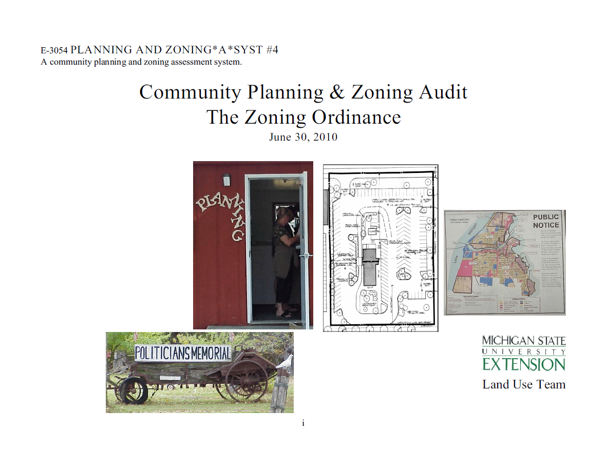 Planning and Zoning*A*Syst. #4: Community Planning & Zoning Audit, The Zoning Ordinance (E3054)