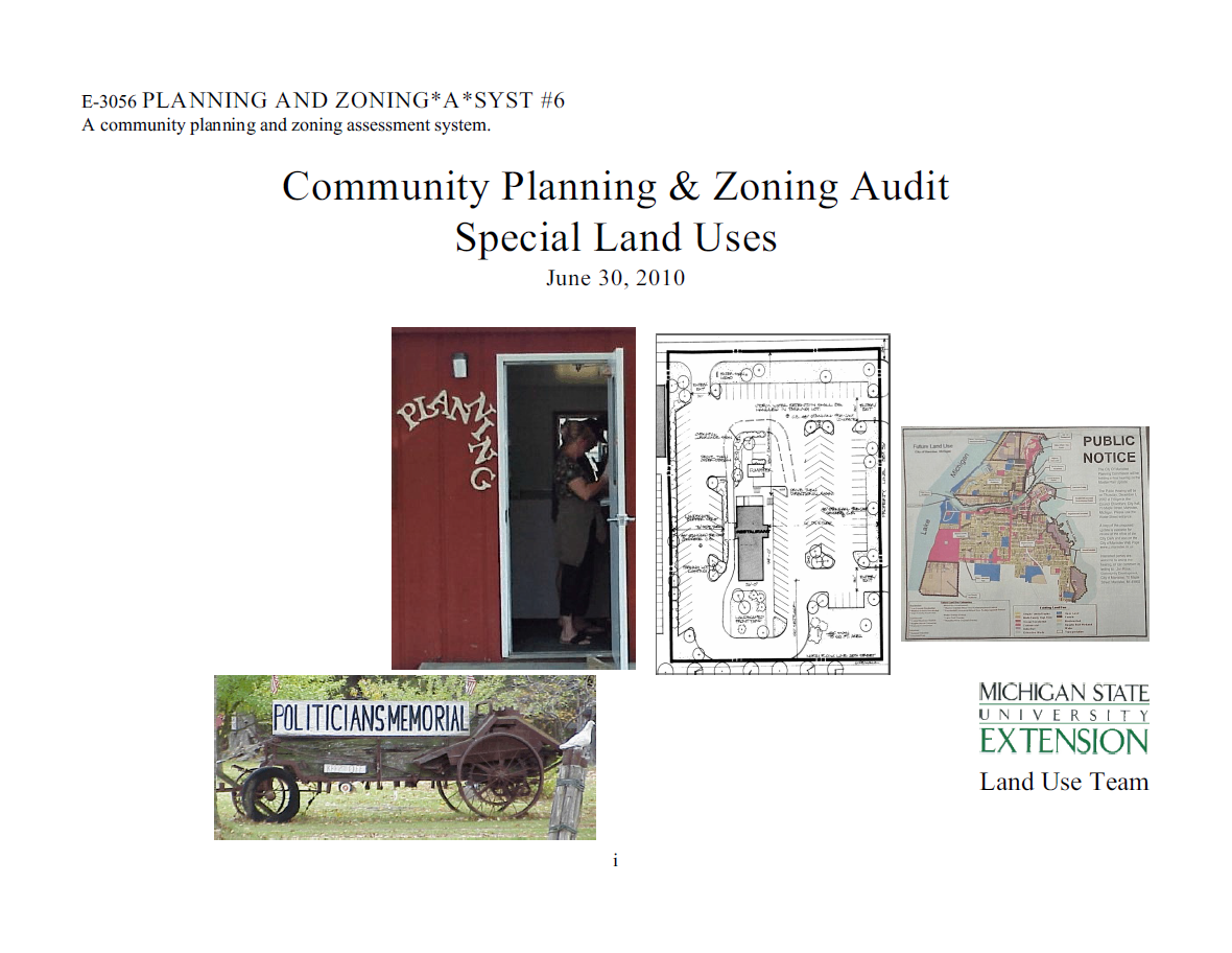 Planning and Zoning*A*Syst. #6: Community Planning & Zoning Audit, Special Land Uses (E3056)