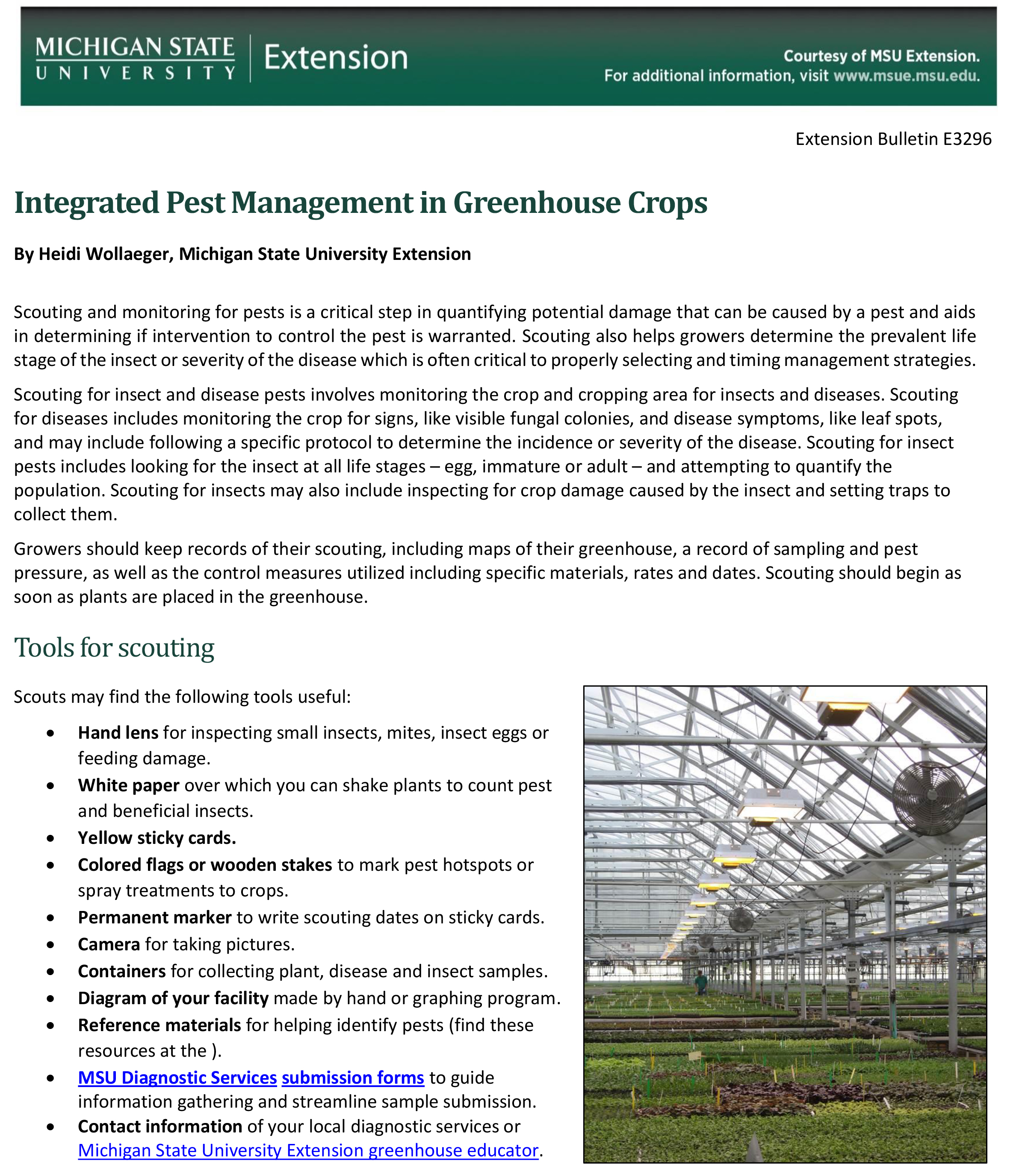 Integrated Pest Management in Greenhouse Crops (E3296)