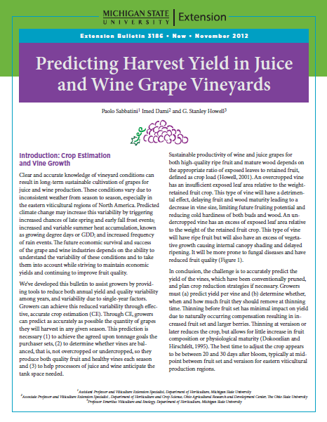 Predicting Harvest Yield in Juice and Wine Grape Vineyards (E3186)