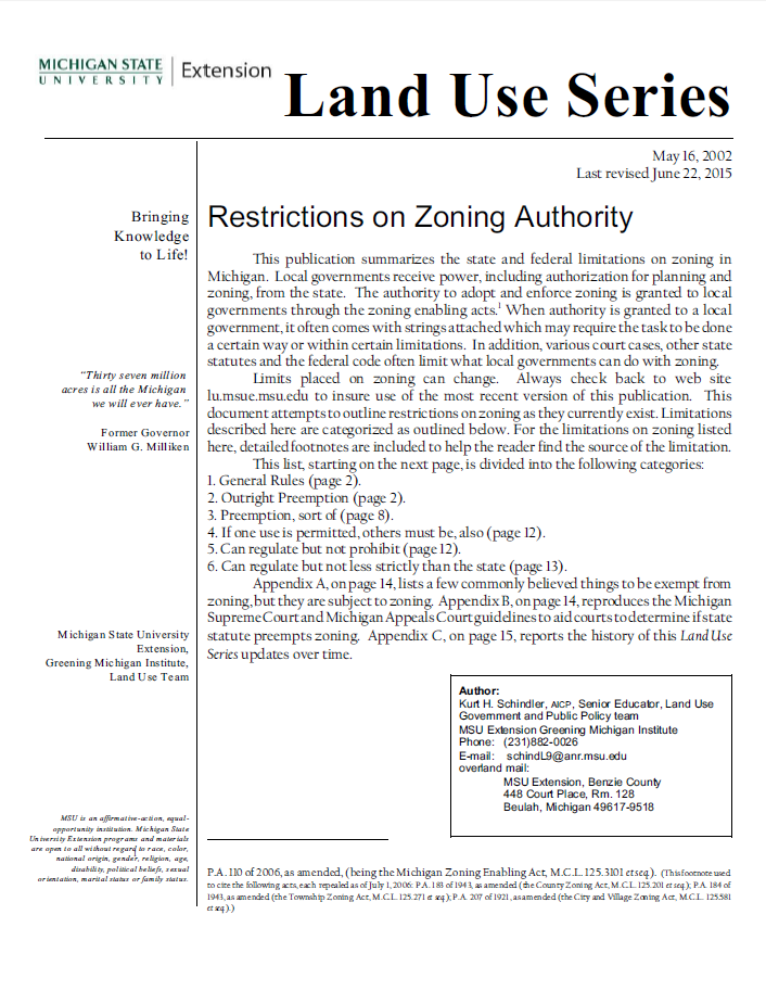 Restrictions on Zoning Authority
