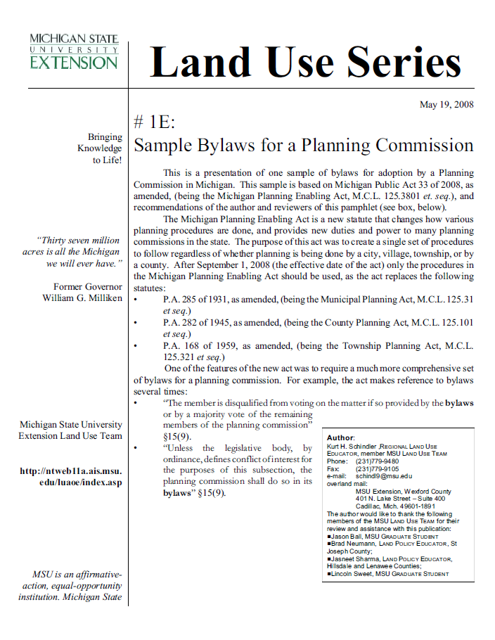 Sample #1E: Bylaws for a Planning Commission