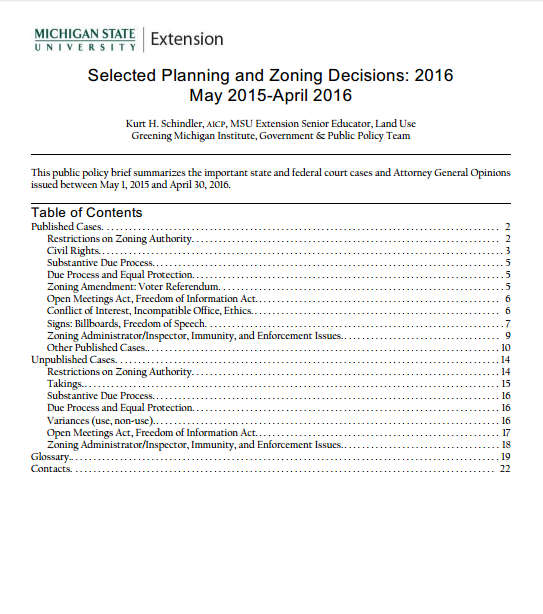 Summary of Planning and Zoning Court Decisions, 2016.