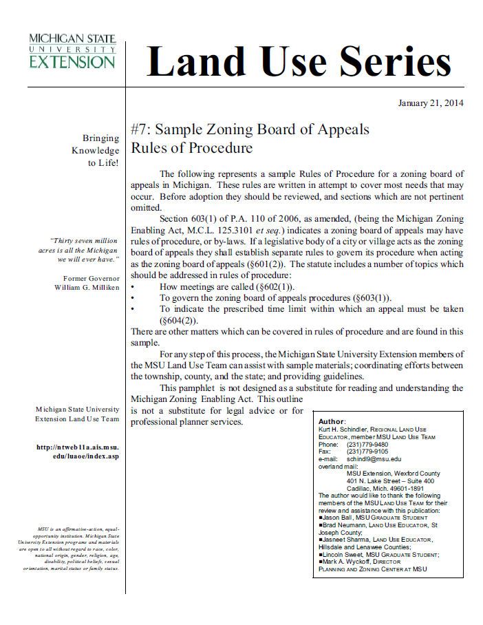 Sample #7: Zoning Board of Appeals Rules of Procedure