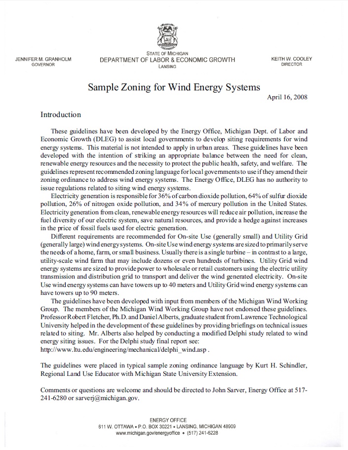 Sample Zoning for Wind Energy Systems