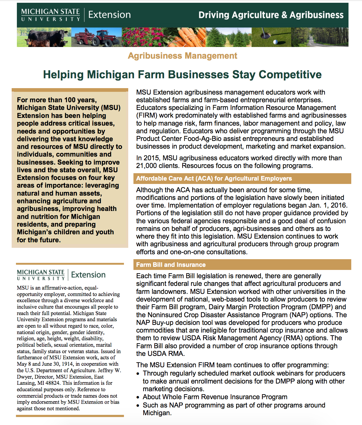 Agribusiness Management: Helping Michigan Farm Businesses Stay Competitive