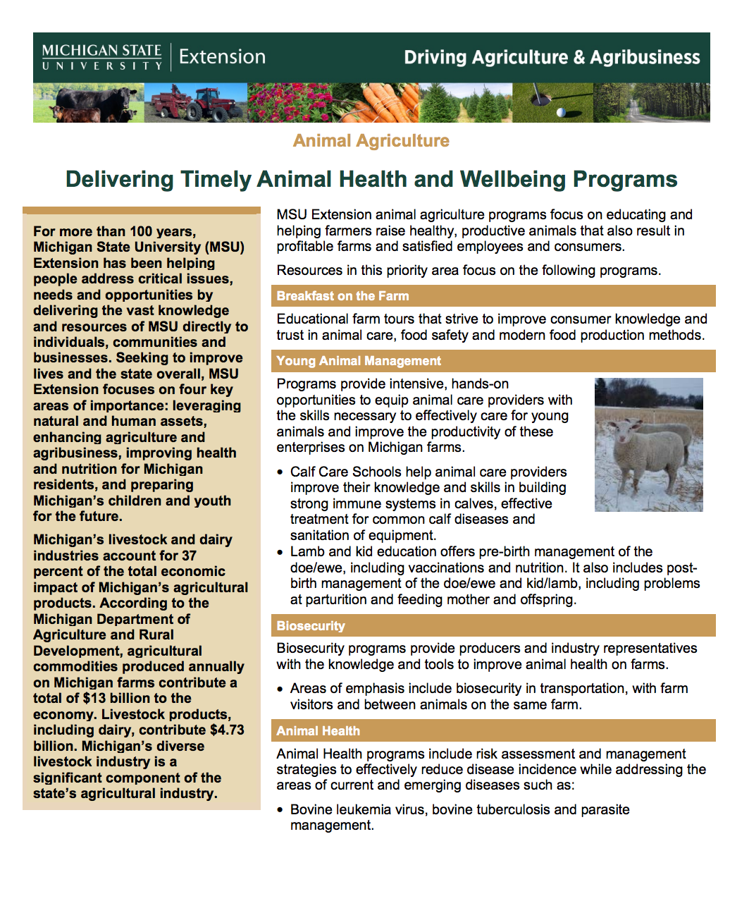Animal Agriculture: Delivering Timely Animal Health and Wellbeing Programs