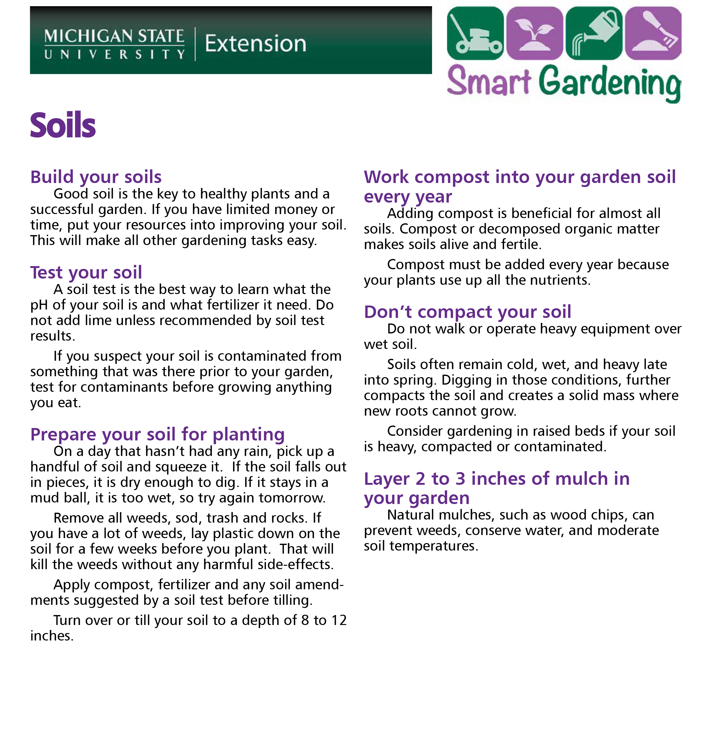 Caring for your soil tip sheet