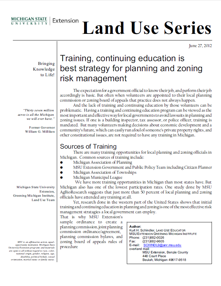 Training, continuing education is best strategy for planning and zoning risk management