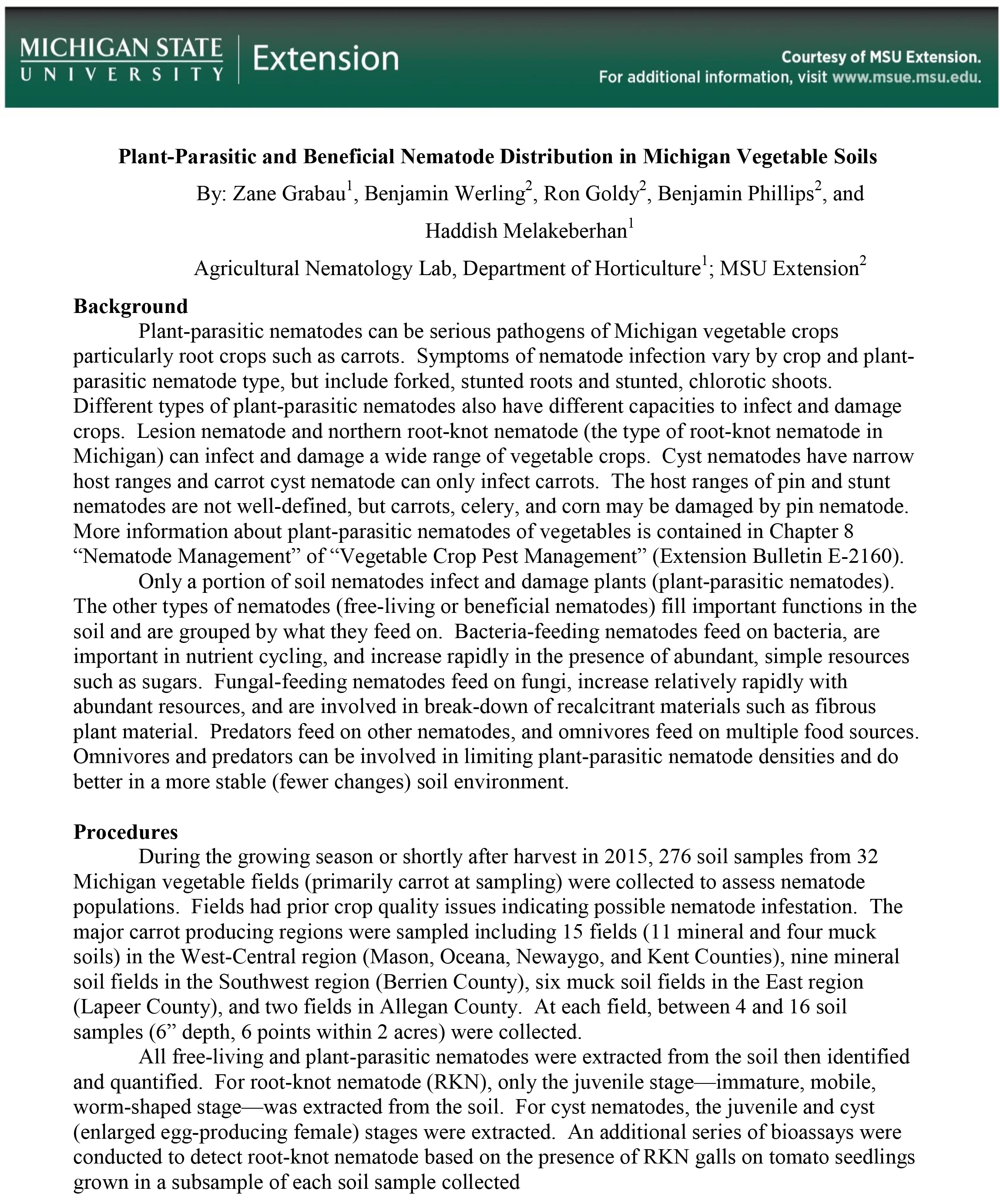 Plant-Parasitic and Beneficial Nematode Distribution in Michigan Vegetable Soils