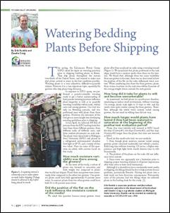 Watering bedding plants before shipping