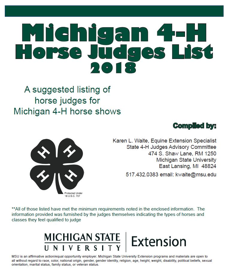Michigan 4-H Horse Judges List