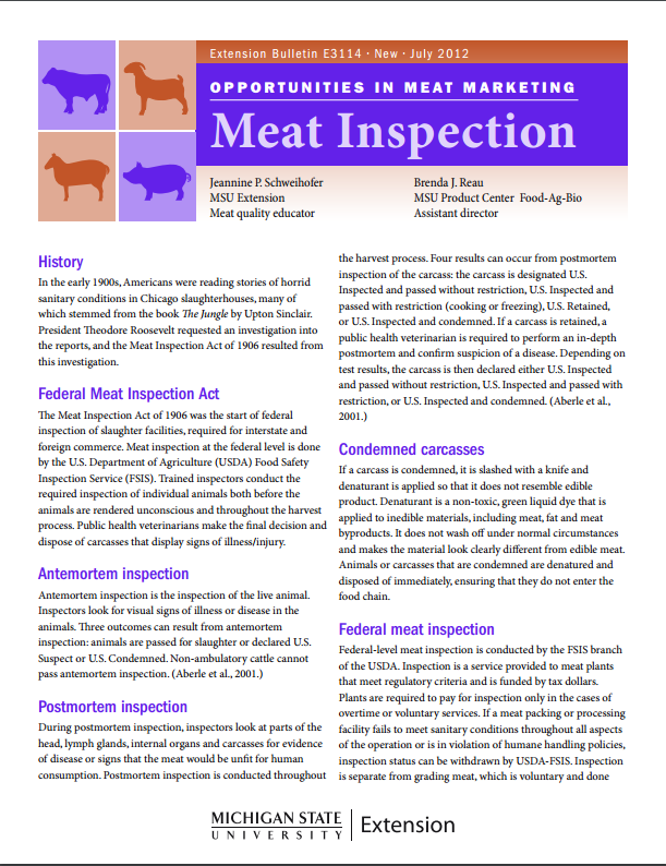 Opportunities in meat marketing: Meat inspection
