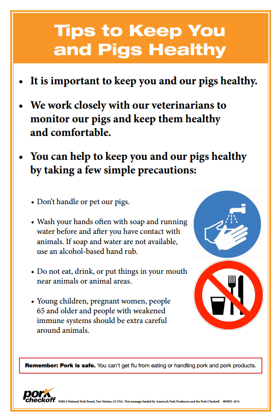 SIGN - Tips to Keep You and Pigs Healthy