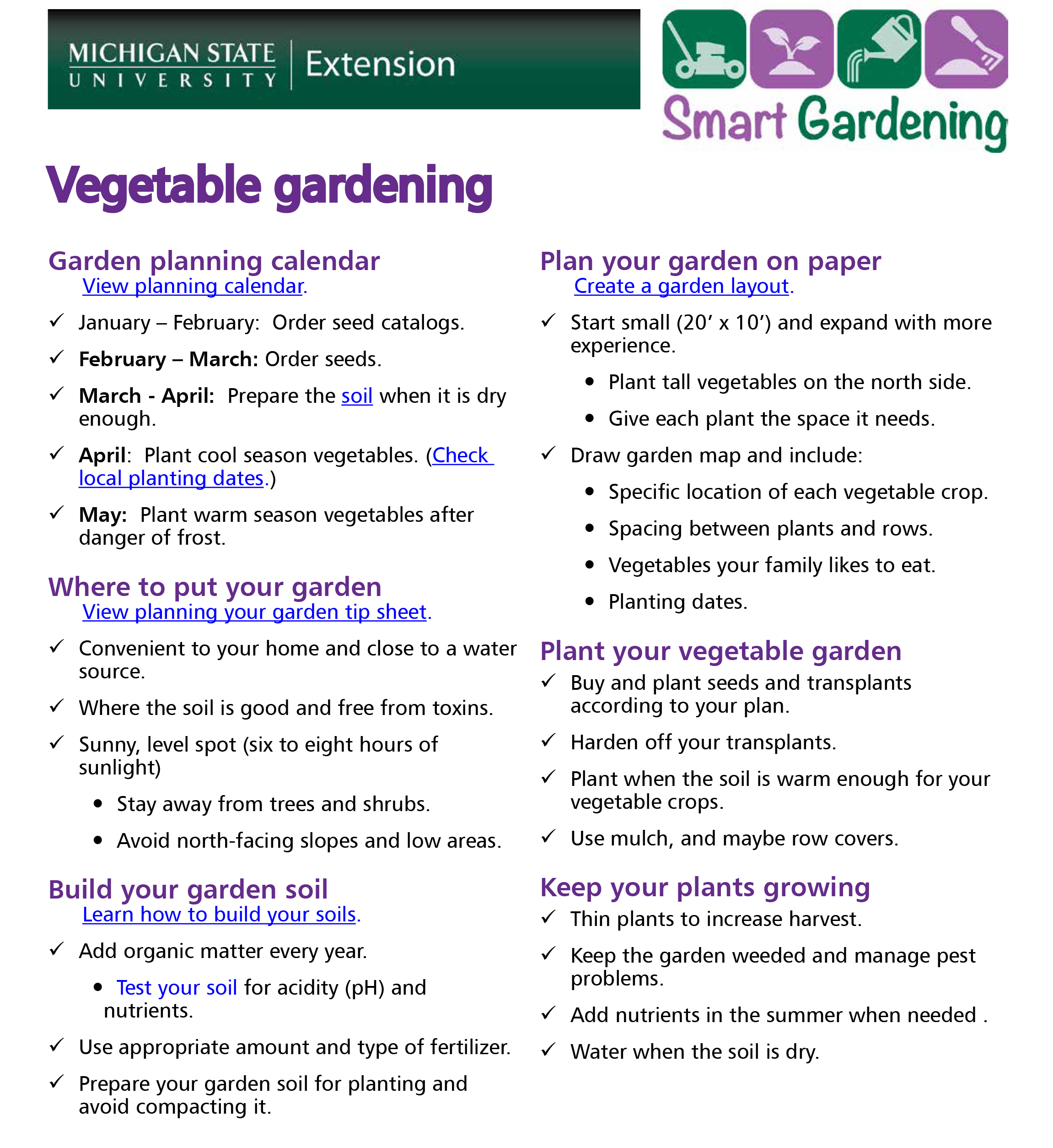 Vegetable gardening tip sheet