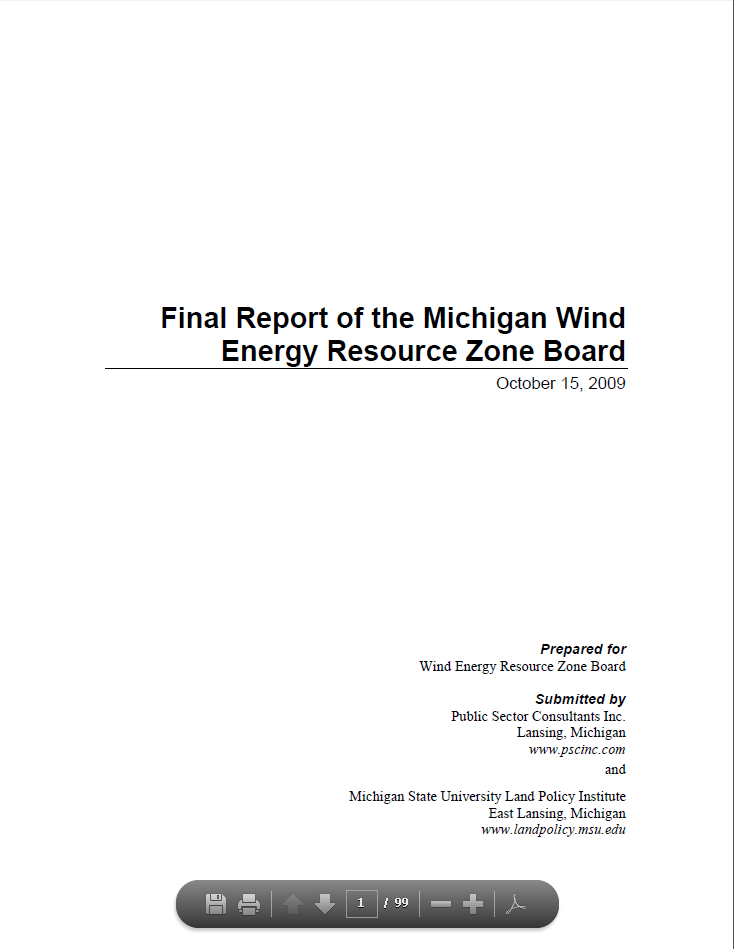 Final Report of the Michigan Wind Energy Resource Zone Board